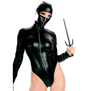 New stage costume Japanese ninja role play lacquer skin Ninja Jumpsuit Pole Dance Costume