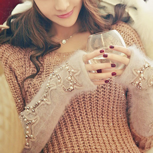 South Korea imported genuine purchasing rabbit fur beaded gloves dress gloves pearl glitter Jingjing shop into cash