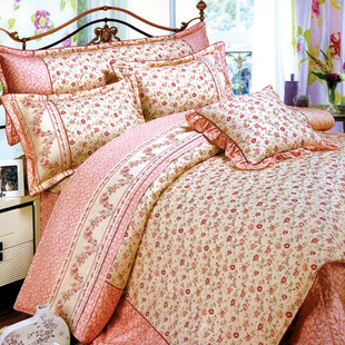A family of four quilted bed skirt Li fixation plus active cotton twill cotton bedspread High dense branching