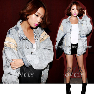 Women new winter jacket lapel stitching temperament Korea into conventional models relaxed casual denim jacket