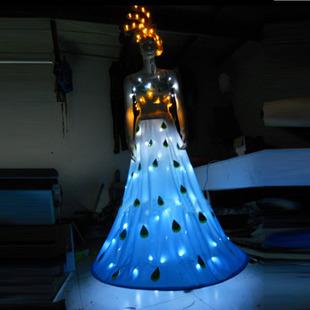 新款舞台演出LED发光服 孔雀舞表演服饰 舞蹈服 订制