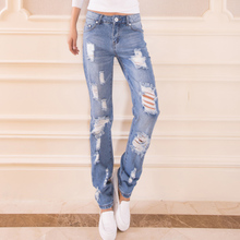 Qiao love fang han edition of new fund of 2015 spring hole sexy leisure fashion tide female long straight leg jeans trousers
