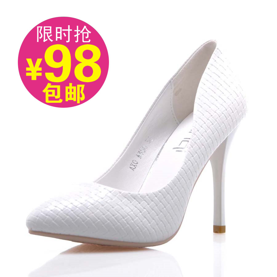 Pointed high heel womens spring 2018 new slim heel wedding shoes brides shoes professional work shoes womens shoes single shoes