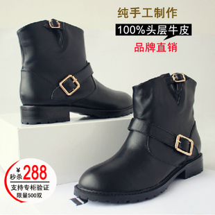European and American minimalist women and bare boots motorcycle boots leather flat boots with thick British Lun Mading boots women flat heel boots Knight