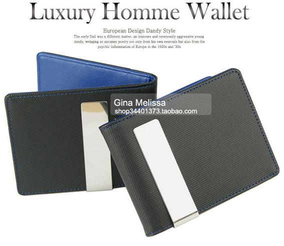 Ethersun original design retro banknote clip personality European and American mens small wallet Crazy Horse Wallet