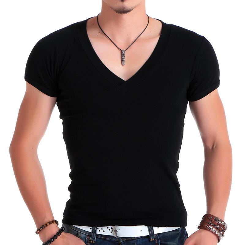 男紧身T恤男款短袖大V领健身上衣韩版修身型 超爽滑高弹力莱卡棉