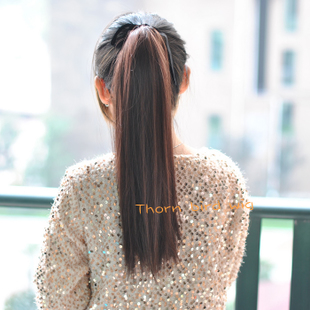 The Thorn Birds supple wig straight pony tail fake pony tail straight hair pony tail wig tied ponytail hair extension female
