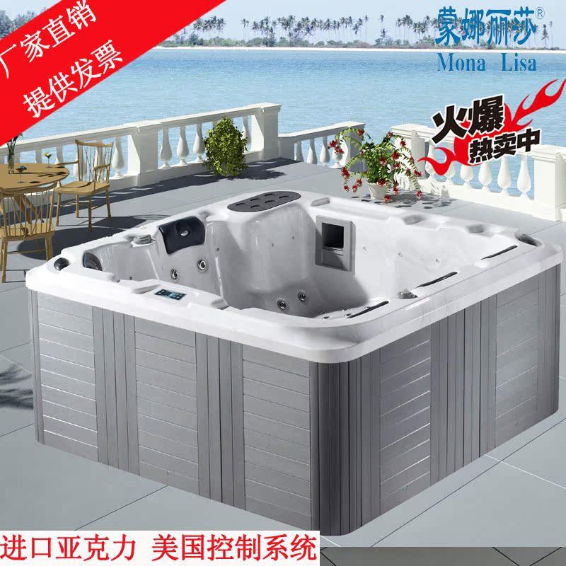 蒙娜丽莎卫浴 2.2米别墅花园浴缸 户外SPA大浴缸 多功能冲浪浴缸
