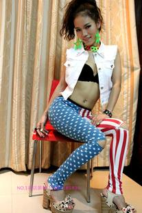 Value Special personality was thin cotton American flag five pointed star star vertical stripes leggings trousers zipper hole