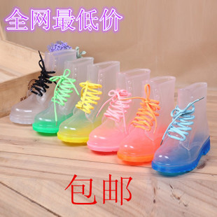 Korea crystal jelly shoes flat boots Martin boots fashion transparent perspective candy colored shoes water shoes