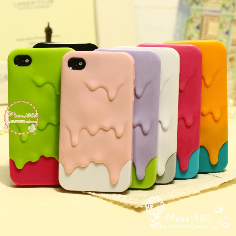 融化雪糕 iphone4 4s 外壳 苹果4手机壳子 情侣新款潮韩国保护套