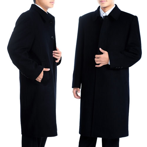 Classic middle-aged and old mens overcoat long wool cashmere overcoat woolen overcoat fathers suit