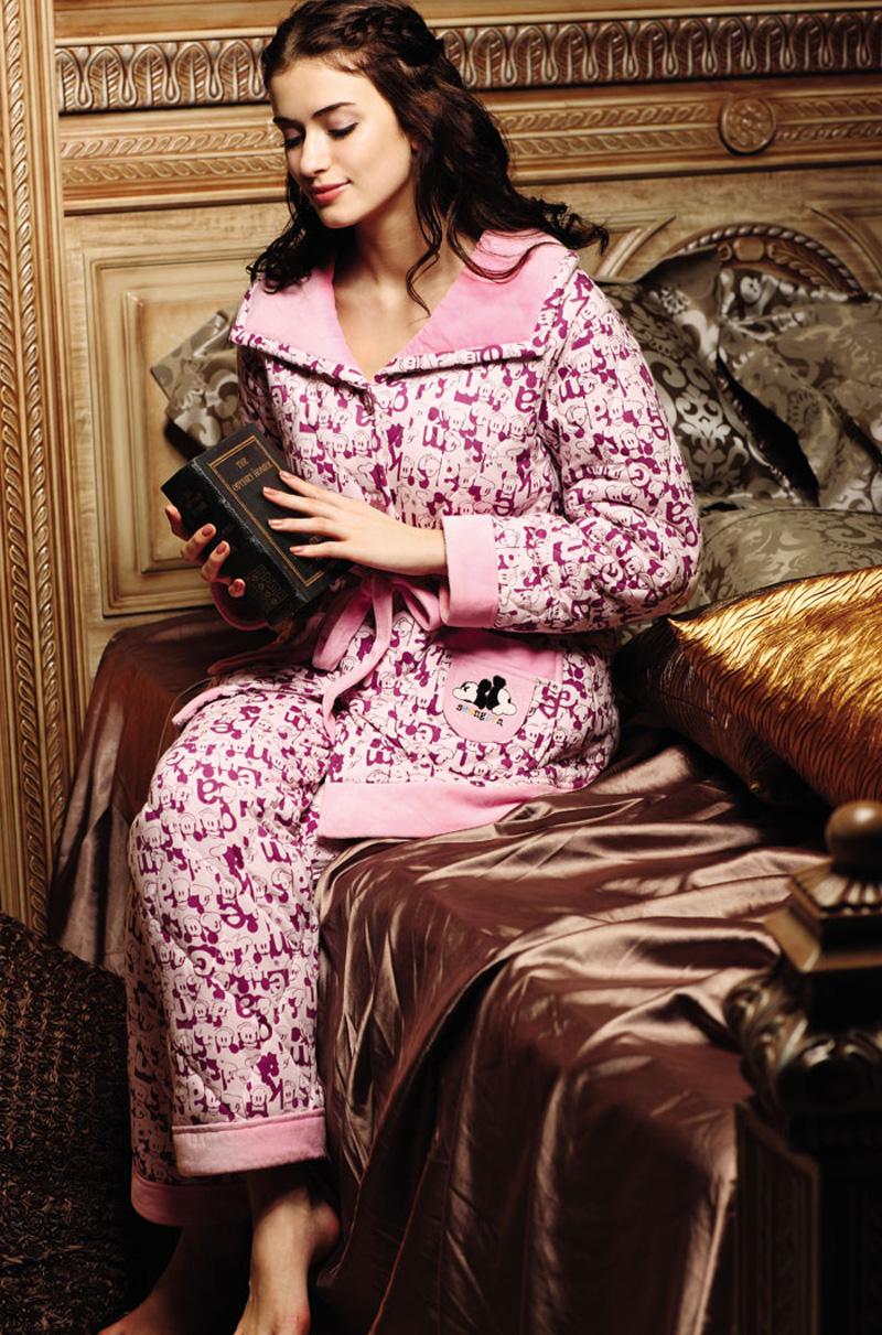 升派正品女士抽腰加厚卡通梭��A棉�A�q睡衣家居服�b套�b特�r