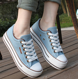 Authentic Human canvas shoes 2015 autumn Korean version of the influx of female students shoes thick crust muffin casual shoes cloth shoes