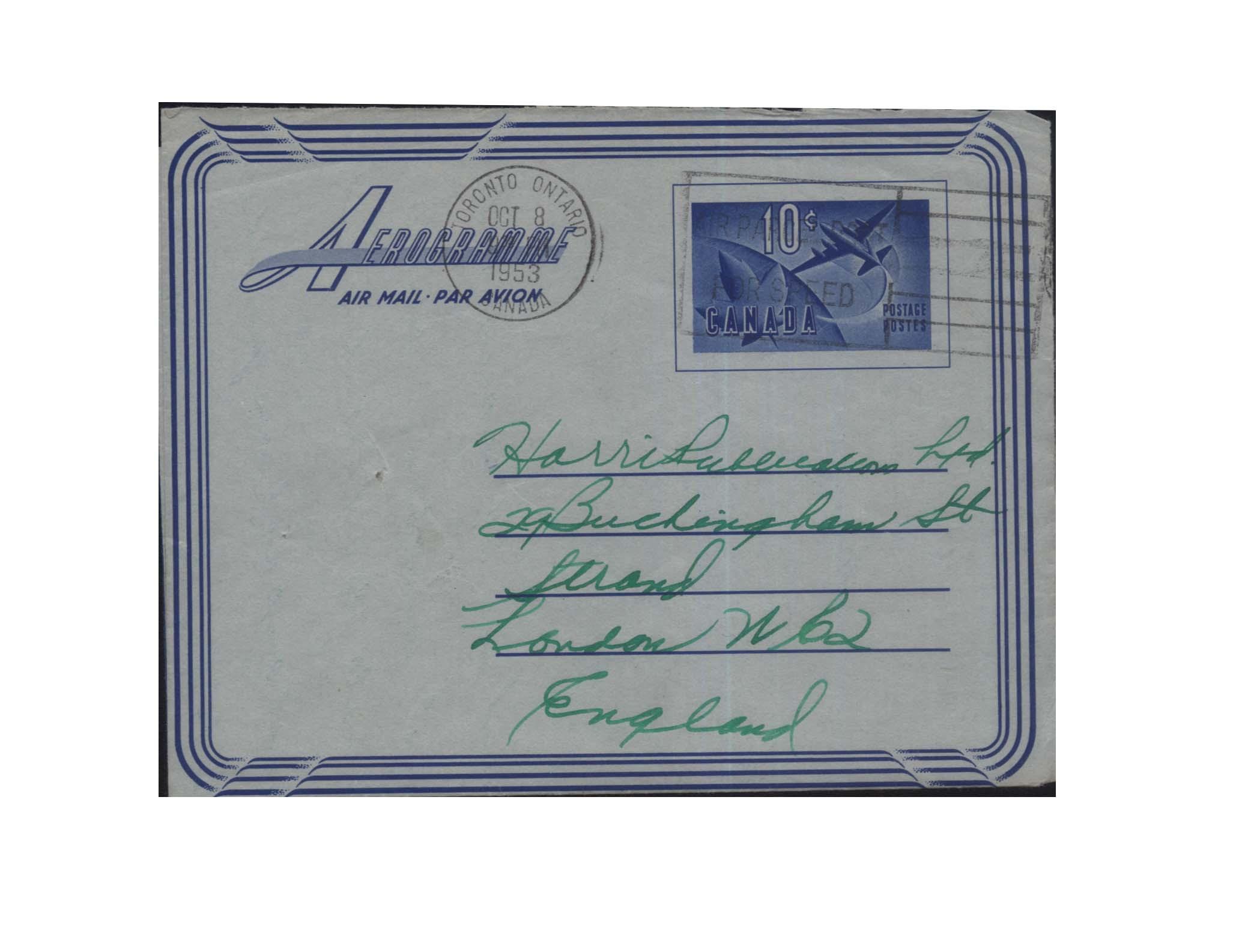 A-YJ1 канада '53 год ( почта капитал изображенный самолет , земля спокойный кленовый лист ) реальный послать почта простой медаль