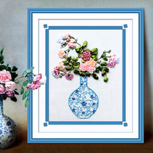 Traditional printed ribbon embroidery hang a picture to the new blue and white porcelain Ribbon embroidery sitting room bedroom study the cross-stitch