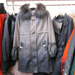 Discovered by Kee genuine edge 2012 new winter fat MM thick gray gradient color long section of the leather female XXXL