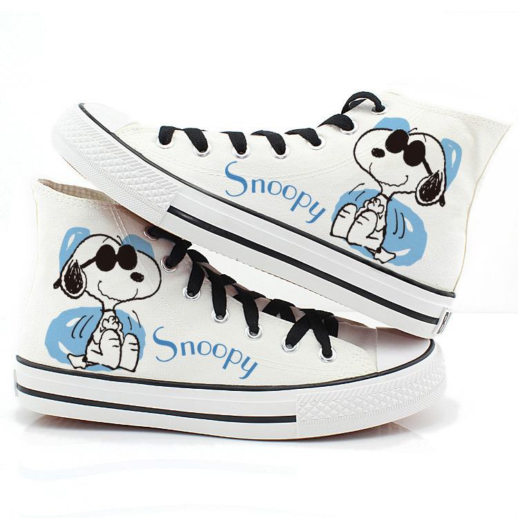 YOVCA в корейской версии ручной росписью высокой эспадрильи обувь, ткани Обувь, Snoopy Тайд любителей Обувь повседневная обувь