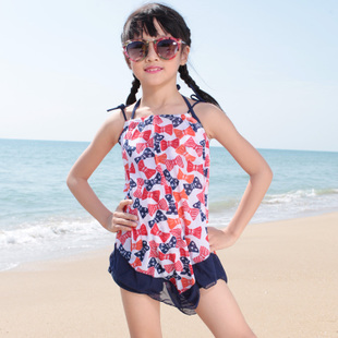 Children three piece swimsuit bikini child children baby girl split skirt style swimwear female small big virgin