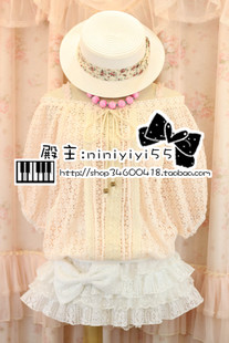 Japan Japanese LIZ LISA sweet bow bat loose smock blouse openwork lace shirt wild
