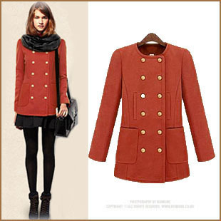 2014 Korean version of the fall and winter clearance Kuangshuai worsted woolen jacket round neck long section of large size women coat wild