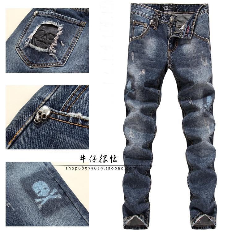 Горячие взрывы продажи к 2015 году корейский ветряные мельницы Винни прямые джинсы мужские белые ковбой черепа печати бум