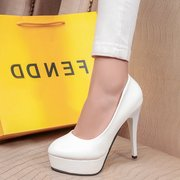 Sexy nude head ultra high heels with spring, summer, waterproof white light red women's shoes the bride wedding shoes