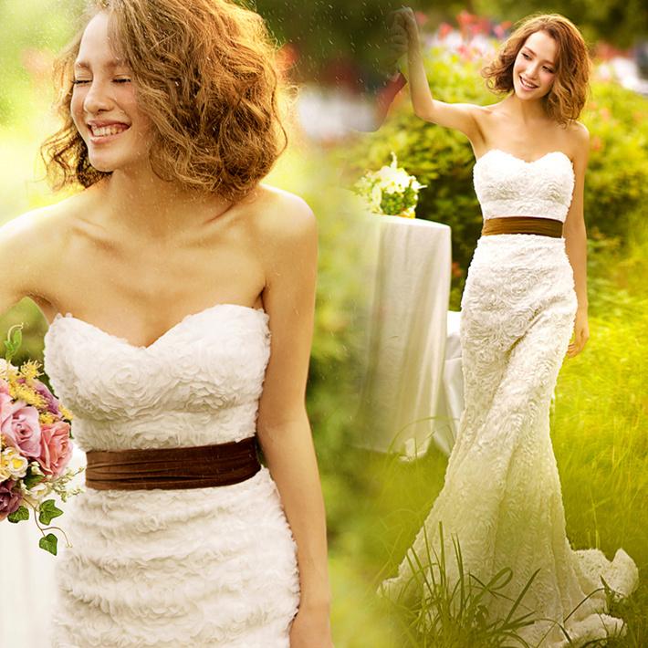 Невеста свадьба 2015 зима новый стиль свадебное платье маленький трейлинг принцесса Слим похудение тела обертывания хип хвост