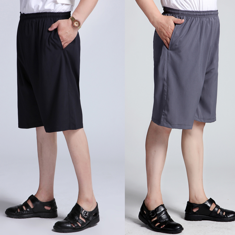 Middle aged mens shorts Capris beach dad summer middle aged and elderly casual silk pants imitation z-069 thin elderly