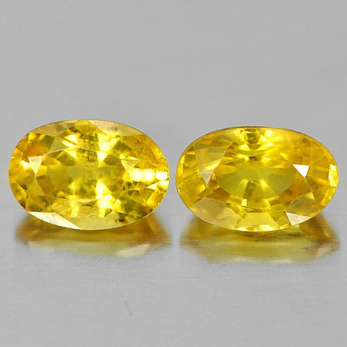 A pair of 1.42 Carat Yellow Sapphire bare stones