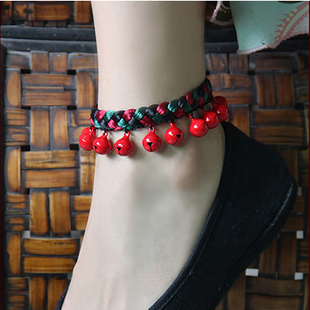 Century original national wind hand woven red string anklets jewelry retro female personality natal red bell anklets