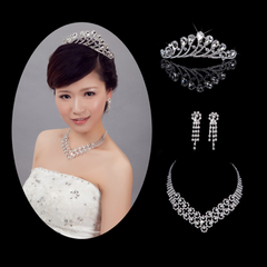 Purple Fairy wedding accessories Bridal Accessories three-set tiara Necklace Earring
