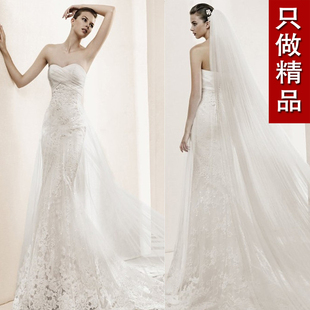 2015 new European royal family was thin sexy lace fishtail trailing Bra minimalist high end wedding dress custom