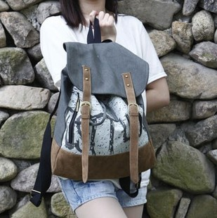 2014 students new canvas shoulder books shoulders back female couple Korean Institute of wind tide leisure big