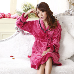 Qiao Ya autumn and winter thick coral velvet robe bathrobes sexy pajamas flannel nightgown female Ms tracksuit