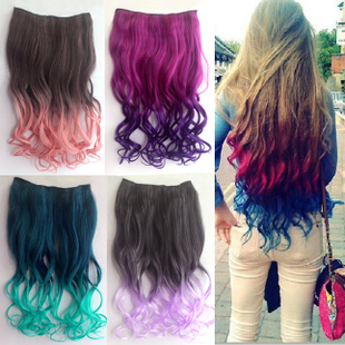 Nightclubs Harajuku color wig piece piece piece wig long curly hair extension sheet 2 Gradient Free