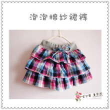 The new foreign trade the original single single female children's wear cotton seersucker grid cake skirts shorts in summer blue