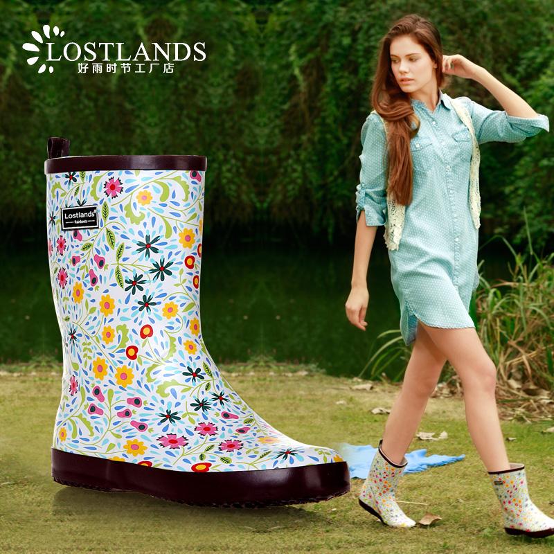 Lostlands трубка в красивые цветочные дождь загрузки женщин дождь сапоги, которые Ирландия весеннего дождя сапоги