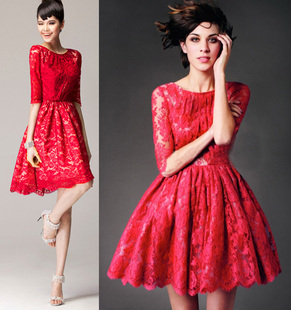 Pure sweet red and black tutu dress Cheap 2015 new retro fifth sleeve lace big swing