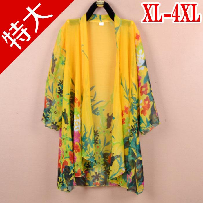 Летом очень большой жира мм плечо печатных шифон рубашку с солнечной защиты одежды добавить мачты ярд длинный кардиган женщин тонкий