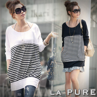 Large size women fat mm spring 2013 Korean version of black and white striped long sleeved long section of the bat sleeve casual round neck T shirt