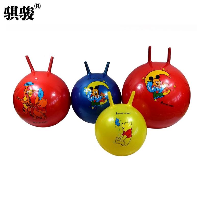 加厚羊角球大號跳跳球幼兒園兒童玩具親子手柄蹦蹦球戶外玩具