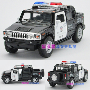 1 40 Hummer single paragraph Zhiguan cool black police car pull back alloy car model toy