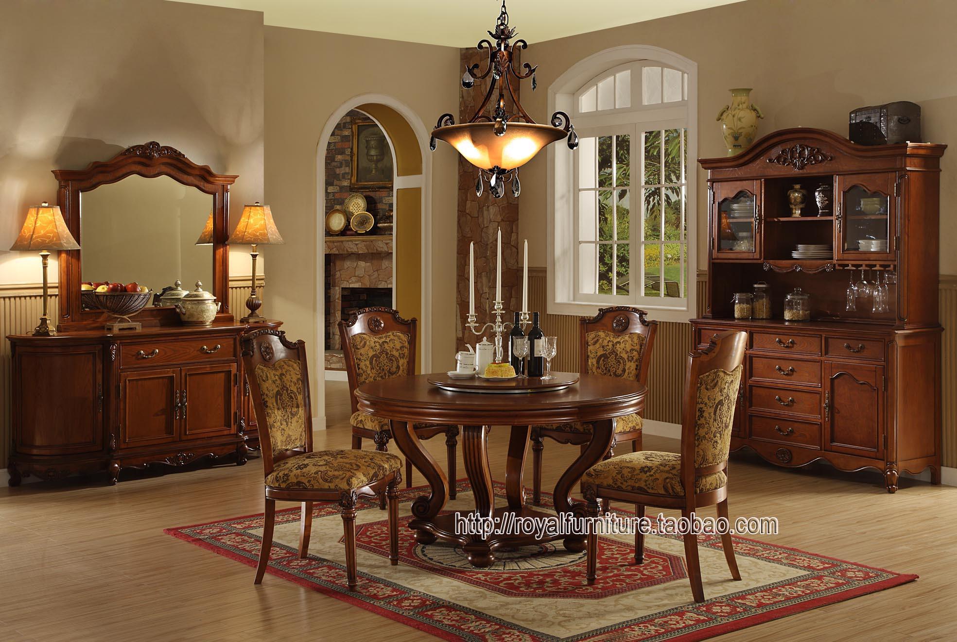 Континентальный американский дерево классическая вилла мебель магазин ★ FW81-3 круглый обеденный стол тайвань акции 3180 юань .