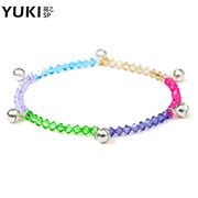 YUKI silver jewelry anklet bells Korean fashion ladies 925 Silver Austria crystal color melodic new wave