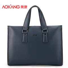 Aucom bag business men leather fashion knitting patterns in the atmosphere laptop shoulder Messenger bag Briefcase