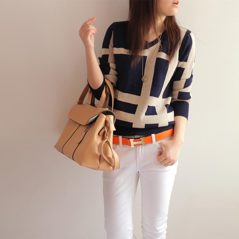 秋季新品女装大码休闲宽松罩衫原单套头打底针织衫外贸内搭毛衣
