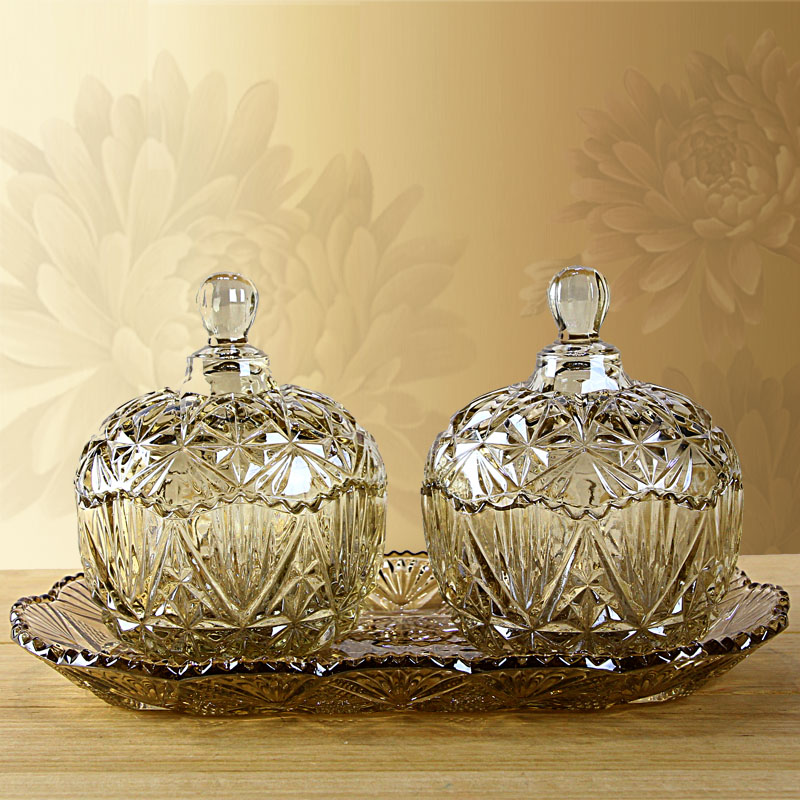 歐式水晶玻璃糖果儲物罐幹果盒裝飾器皿家居飾品擺件 歐式擺設