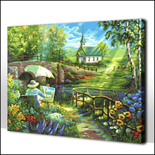 Package mail adult picture books fill color painting graffiti diy digital painting scenery outside 50 * 65 adornment picture