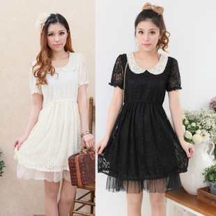 Large size women fat mm summer 2014 new doll collar crochet full lace short sleeved dress